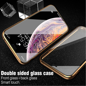 Image 5 - For iphone 8 7 plus iphone X XS Max XR phone case 360 cover coque Luxury Double sided front+back clear glass metal Magnetic case
