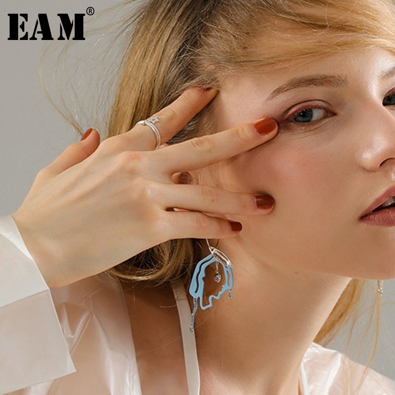 WKOUD EAM Jewelry / 2019 New Fashion Temperament Rhinestone Inlaid Blue Irregular Face Earrings Women's Accessories S#R77705