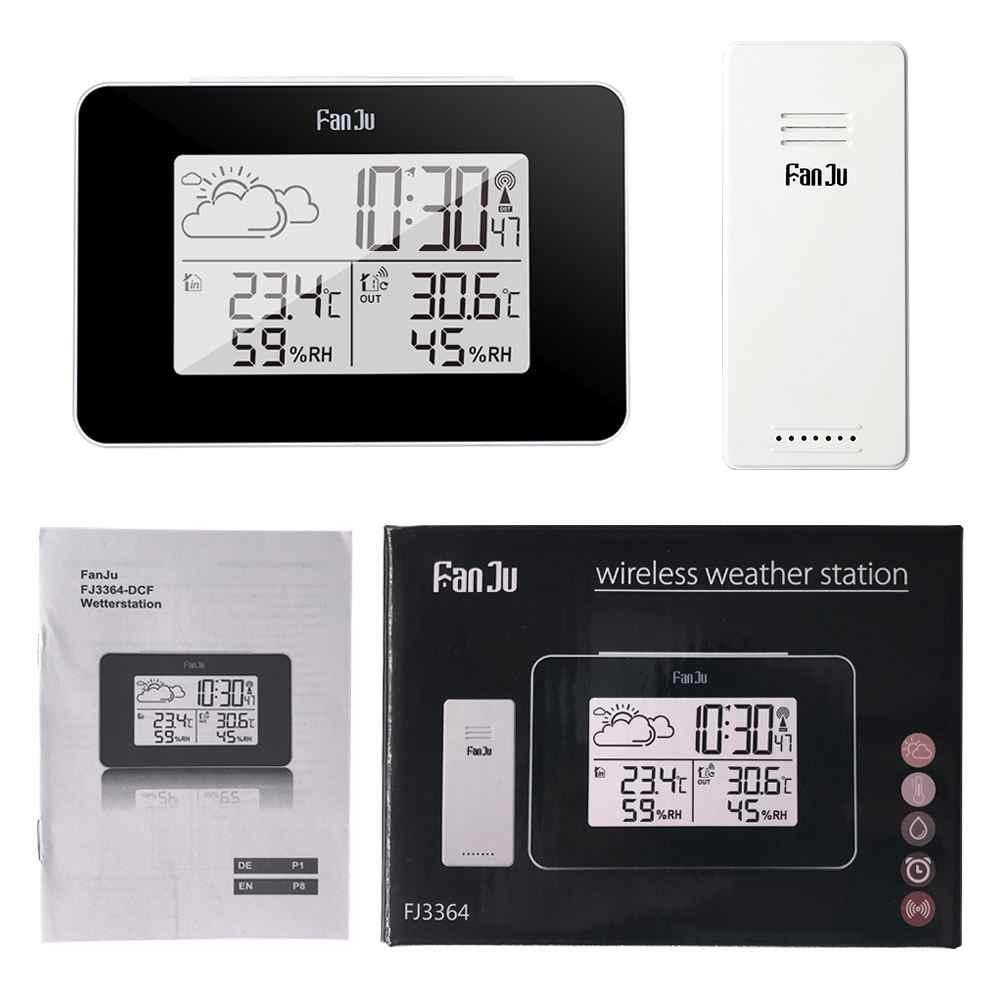FanJu FJ3364 cyfrowy budzik stacja pogodowa czujnik bezprzewodowy termometr higrometrowy wielofunkcyjny zegar biurkowy LED