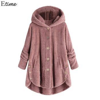 b1ddfa903 De moda de otoño con capucha de invierno de las mujeres chaqueta de abrigo  Casual moda invierno cálido abrigo suelto de 2018 de las mujeres de lana