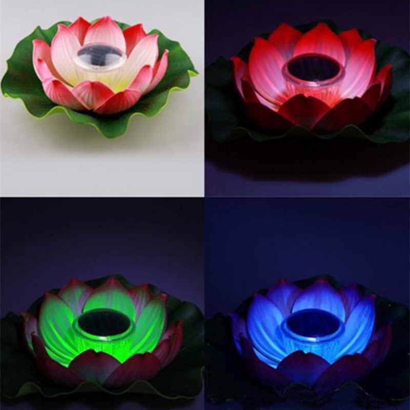 1 Pcs Solar Powered Multi-colored LED Lamp Lotus Flower RGB Water Pond Night Light For Garden Pool Resistant Outdoor Floating