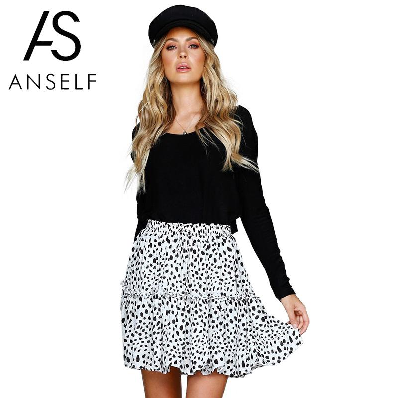 Aggressive Anself Summer Women Mini Skirt Leopard Dot Print Ruched Ruffle Faldas Mujer Moda 2019 Elastic High Waist Short Skirt White/green Relieving Rheumatism And Cold Skirts Bottoms