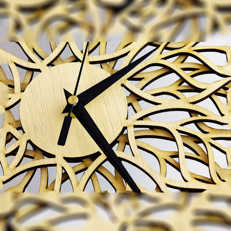 New Wall Clock 3D Simple Leaf Wood Wall Clock For Home Decoration Quartz Mute Nordic Wall Watch 30cm Abstract Duvar Saati Decor in Wall Clocks from Home Garden