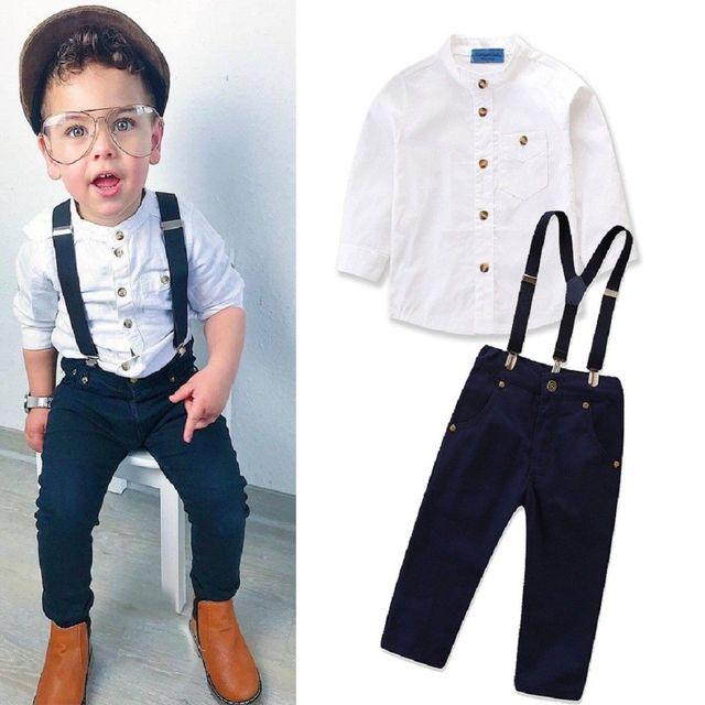 2019 Kid Baby Boy Fashion Clothes Gentleman Button White T-shirt Top+Strap  Black 464c561b0