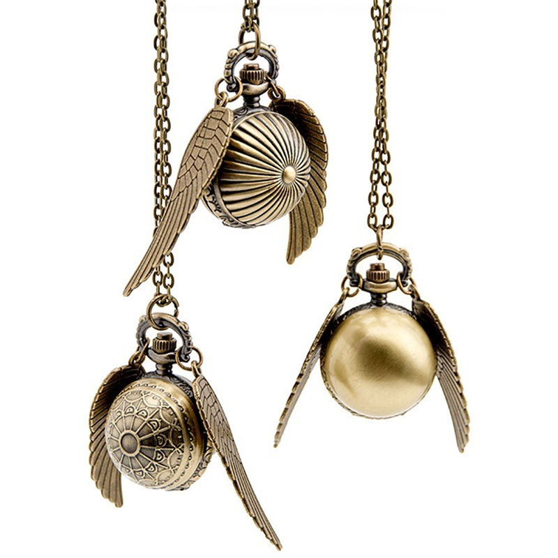 Harry Potter Cosplay Golden Wings Snitch Retro Watch Quartz Pocket Watch Necklace Quidditch Balls Snitch Necklace Toys Fly Thief Revlon Pro Collection Salon One-Step Hair Dryer and Volumizer