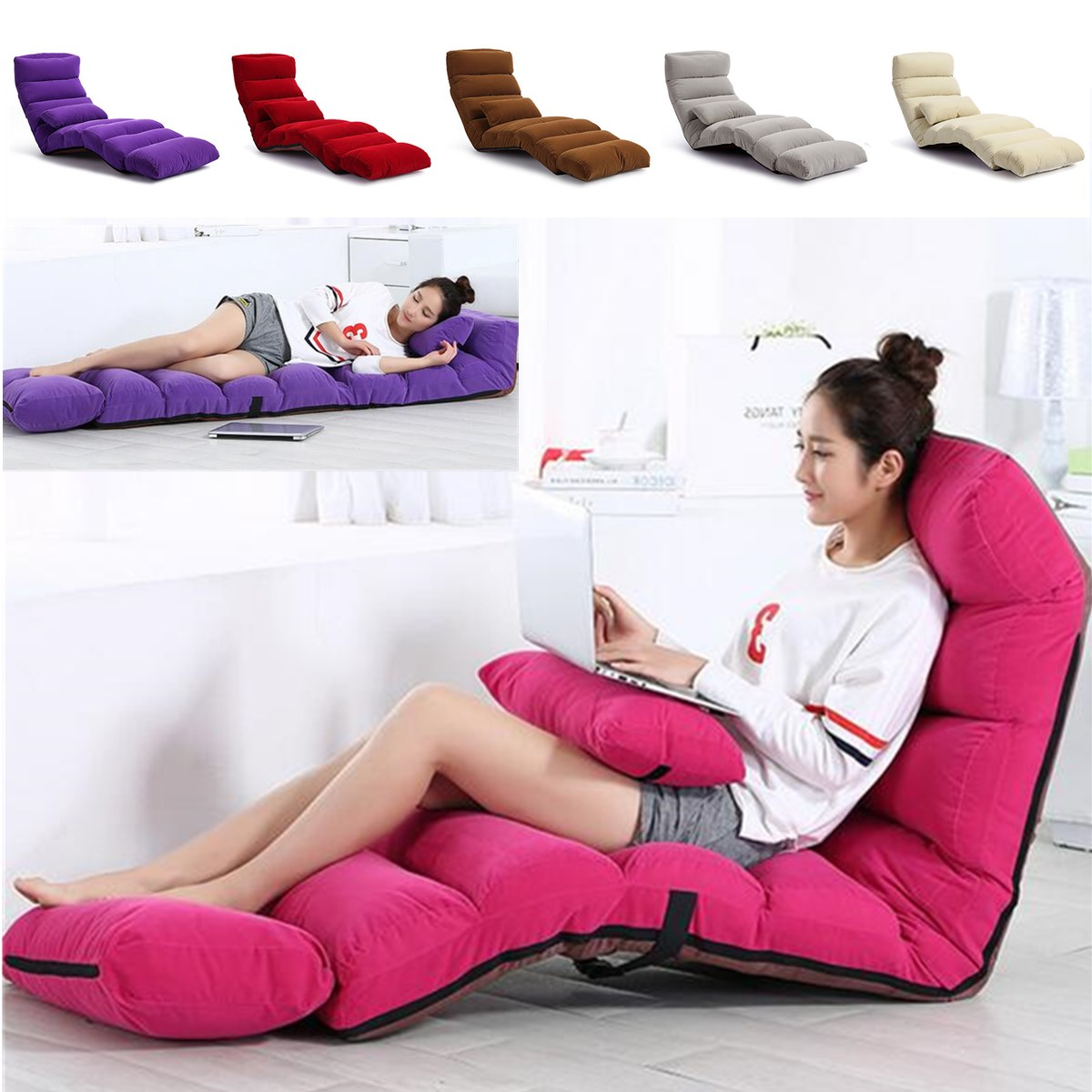 Fine 205Cm 3 Folding Lazy Sofa Chair Couch Bed Lounge With Pillow Inzonedesignstudio Interior Chair Design Inzonedesignstudiocom