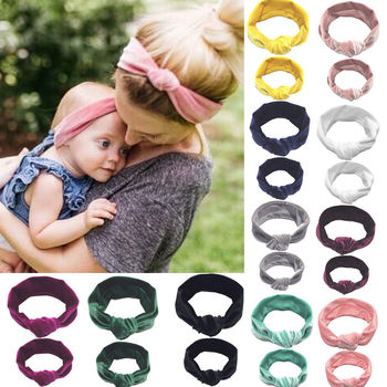 2PCS Mother & Daughter Headwear Kid Girl Baby Toddler Bow Headband Hair Band Accessories