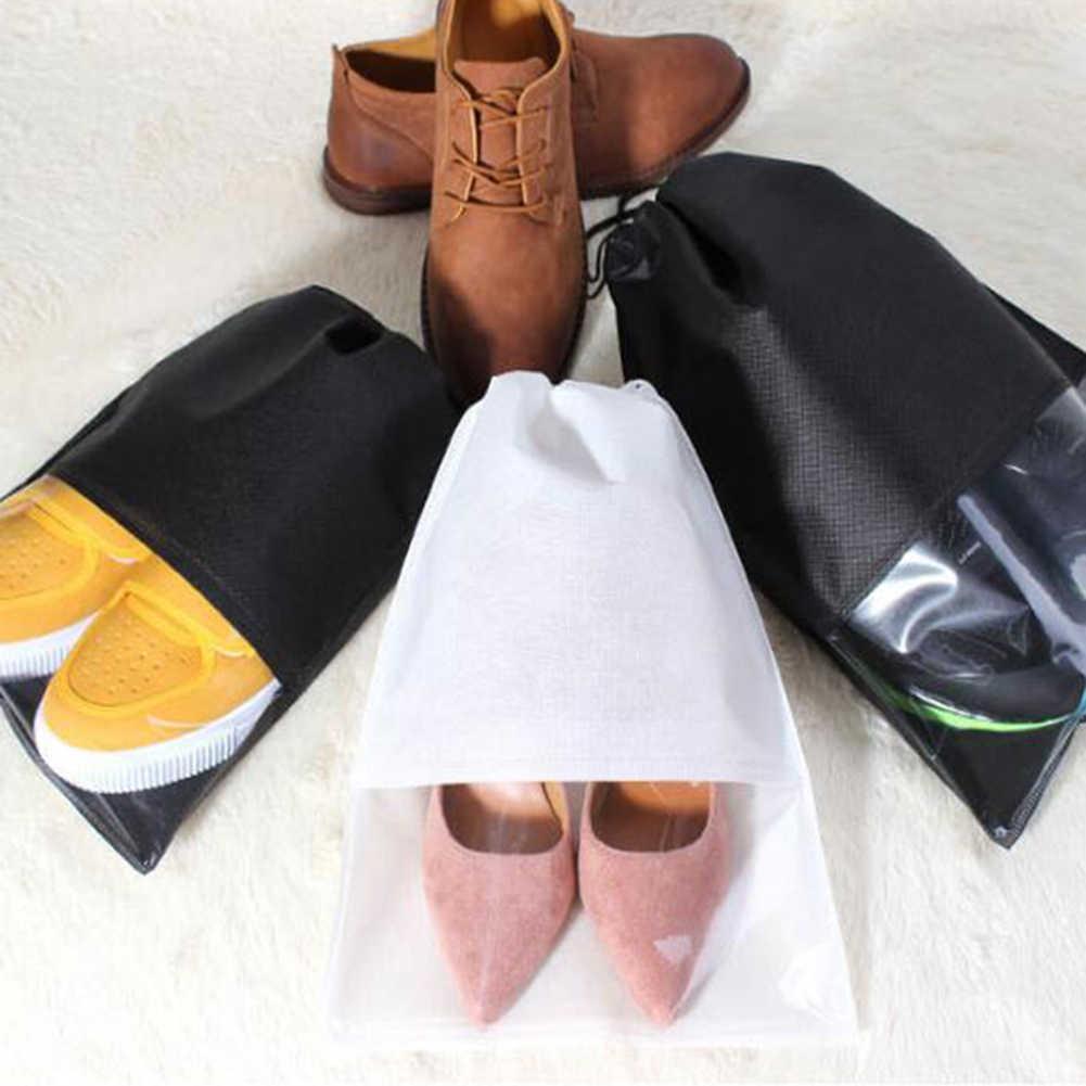 Moda kadın erkek ayakkabısı çanta olmayan-dokuma kumaş seyahat İpli ayakkabı bez çantalar kılıfı seyahat organizatör ayakkabı aksesuarları