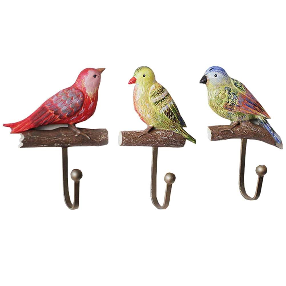 1 Set Decoratieve Hars Pastorale Vogels Kapstok Woondecoratie Hars Houtnerf Opbergrek Slaapkamer Deur Na Jas Hoed Hanger Materialen Van Hoge Kwaliteit