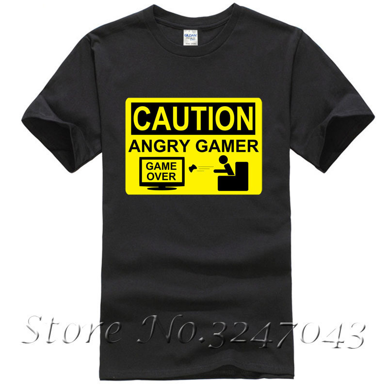 Caution Angry Gamer Warning Sign Game Over Lost Mens T