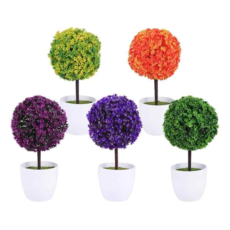 Cute Artificial Plants Ball Simulated Plant Decorative Bonsai Plastic Flower Ball for Home Garden Decoration (Purple)