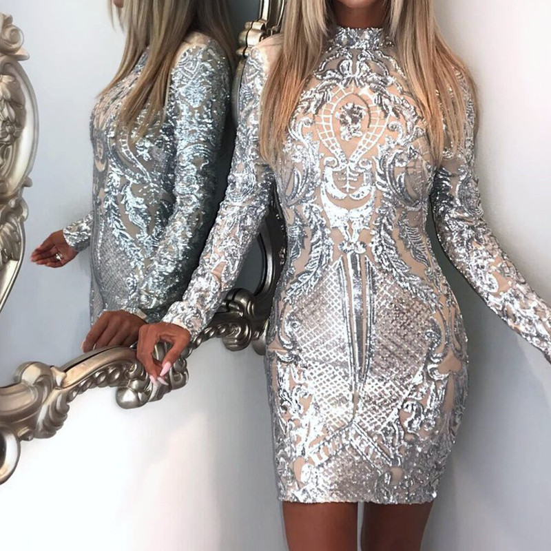 Silver Sparkly Bodycon Dress Long Sleeve Women Sequin Dress Transparent Winter Elegant Sexy Night Club Mesh Glitter Party Dress Платье