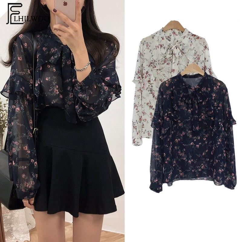 2019 Spring Basic Shirts Blouses Women Japan Preppy Styel Cute Sweet Girls Black White Floral Printed Ruffled Bow Tie Top Shirt