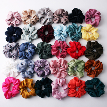 1PC Silky Satin Hair Scrunchies Women Elastic Hair Bands Bright Color Ponytail Holder Hair Accessories Solid Rope Ties Headwear image