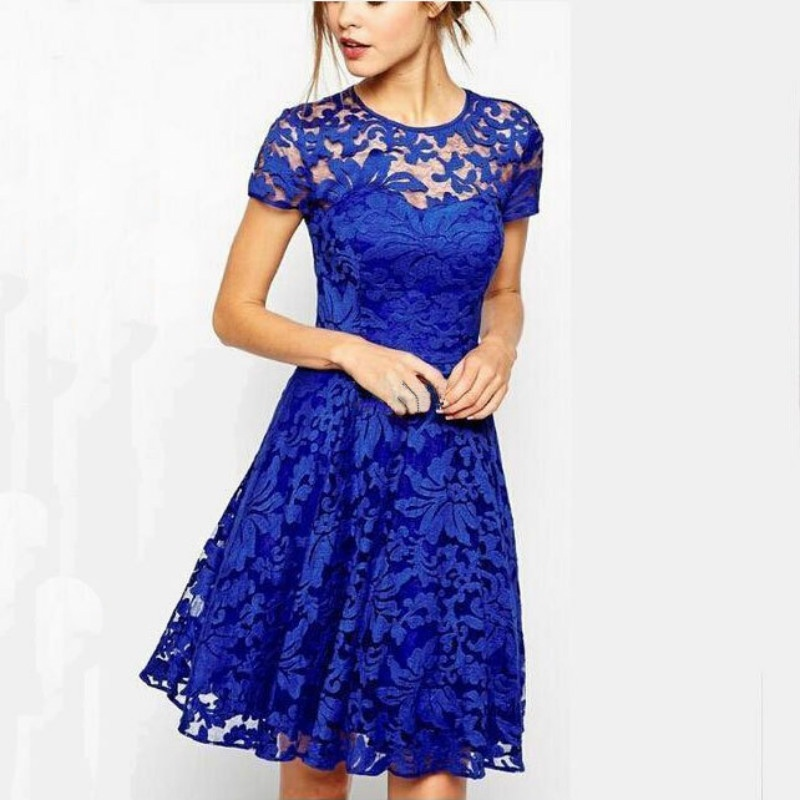 Women Lace Dress Round Neck Lace Blue Short-Sleeved Chiffon Dress Summer Dresses Lady Black New Fashion Casual Plus Size 5XL