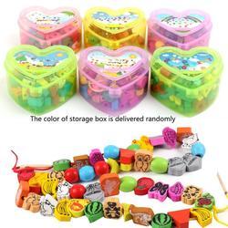 50-56 pçs/set Animais Dos Desenhos Animados brinquedos de madeira de Frutas contas Amarrando Esferas de Threading Jogo Educação Brinquedo para o Bebê Crianças Crianças