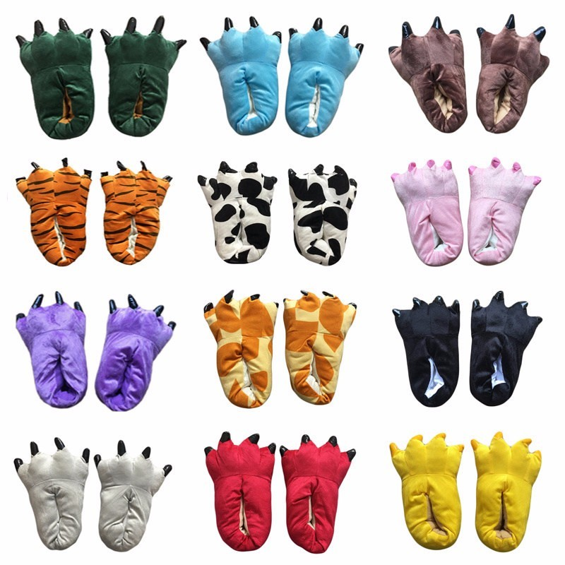 Animal Slippers For Kids Adults Kigurumi Winter Warm Cartoon Pajama Shoes Cartoon Dinosaur Giraffe Cow Tiger Onesie Paw Slippers
