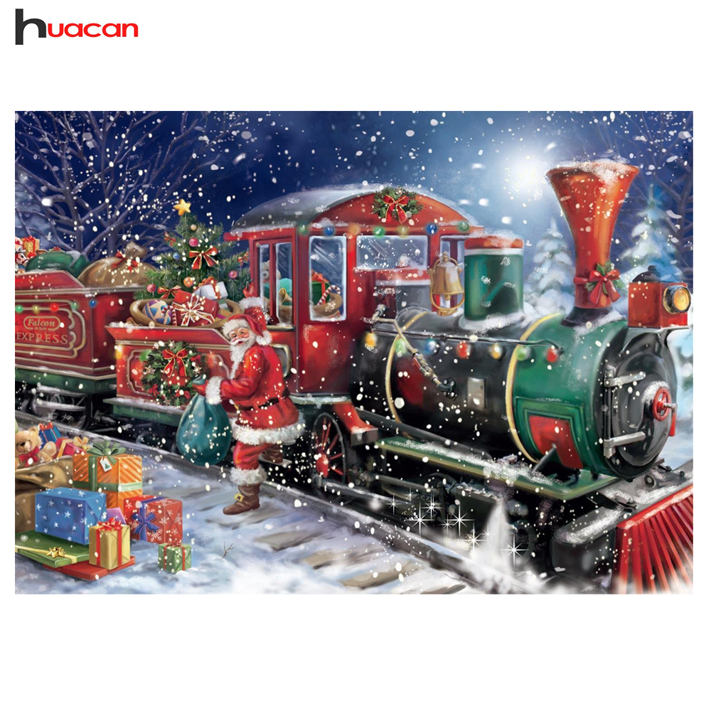 Huacan 5D DIY Diamond Painting Christmas Full Square Rhinestone Diamond Mosaic Santa Claus Train Train Diamond Embroidery Sale Cartoon
