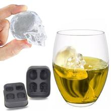 Skull Ice Cube Maker Bones Ball Tray Cake Candy Tools Kitchen Gadgets 4 6 Grid 3D Silicone Whiskey Mold