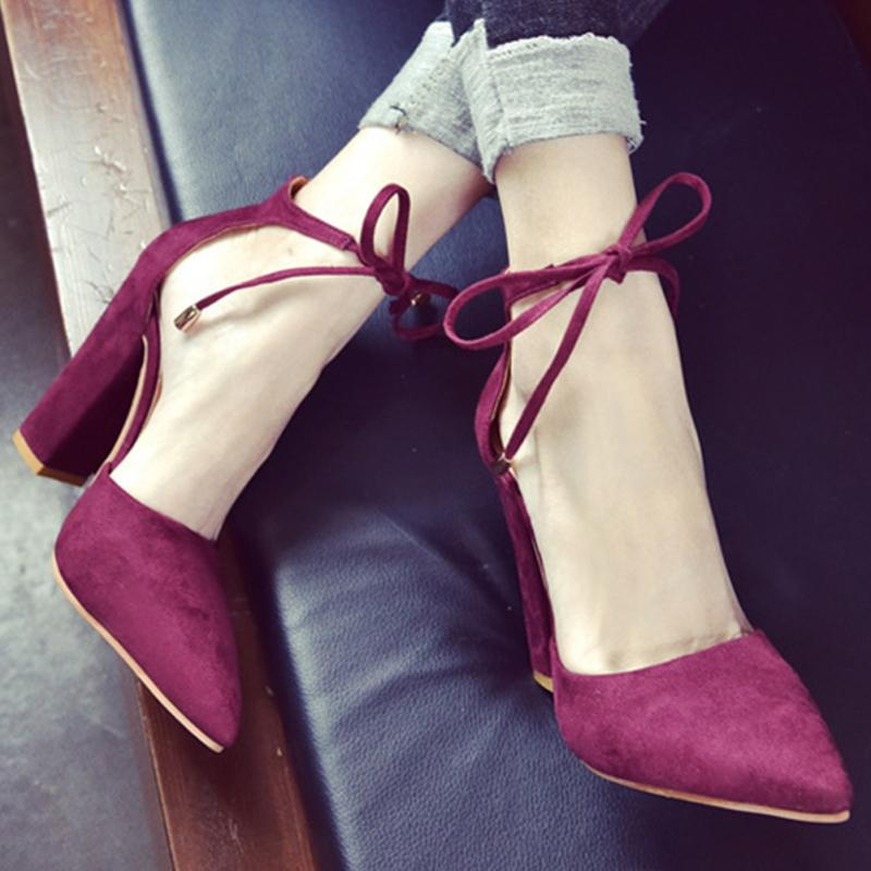 En Sharp Haute Rouge gris vin Daim Embout Talon Chunky Sandales03 Lacent Femmes Talons De Rétro kaki Mode Haut bleu Noir yvNnP80Owm