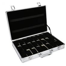 24 شبكة حقيبة مصنوعة من الألومينيوم صندوق عرض صندوق تخزين صندوق لتخزين ساعات اليد صندوق تخزين ساعة قوس ساعة ساعة ساعة صندوق
