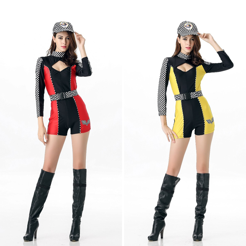 Sexy Girl Car Racre Driver Costume Long Sleeve Sports Car Tight Bodysuit Racing Player Miss Uniform Cheerleader Fancy Dress Removing Obstruction Costumes & Accessories Holidays Costumes
