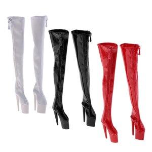 Image 1 - 1/6 kobiet PU skórzane buty 12 cal figurka na wysokim obcasie nad kolana długie Model Fit kobiety buty 3 kolory