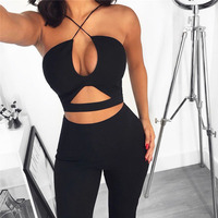 Tobinoone Cotton Sexy Hollow Out Bandage Jumpsuit Women Sleeveless Wide Leg Bodycon Romper Womens Jumpsuit Summer Party Playsuit
