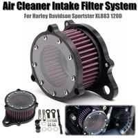 Set of Air Cleaner Intake Filter System Kit Aluminum For Harley Davidson XL883 1200 2004 2015 Sportster 1988 2015 Motorcycle