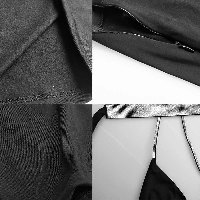 YOCALOR Sexy Bodycon Slim Mini Dress Backless Bandage Phụ Nữ Strip Đảng Ngắn Tank Không Đối Xứng Nữ Sâu V Bút Chì Vestidos