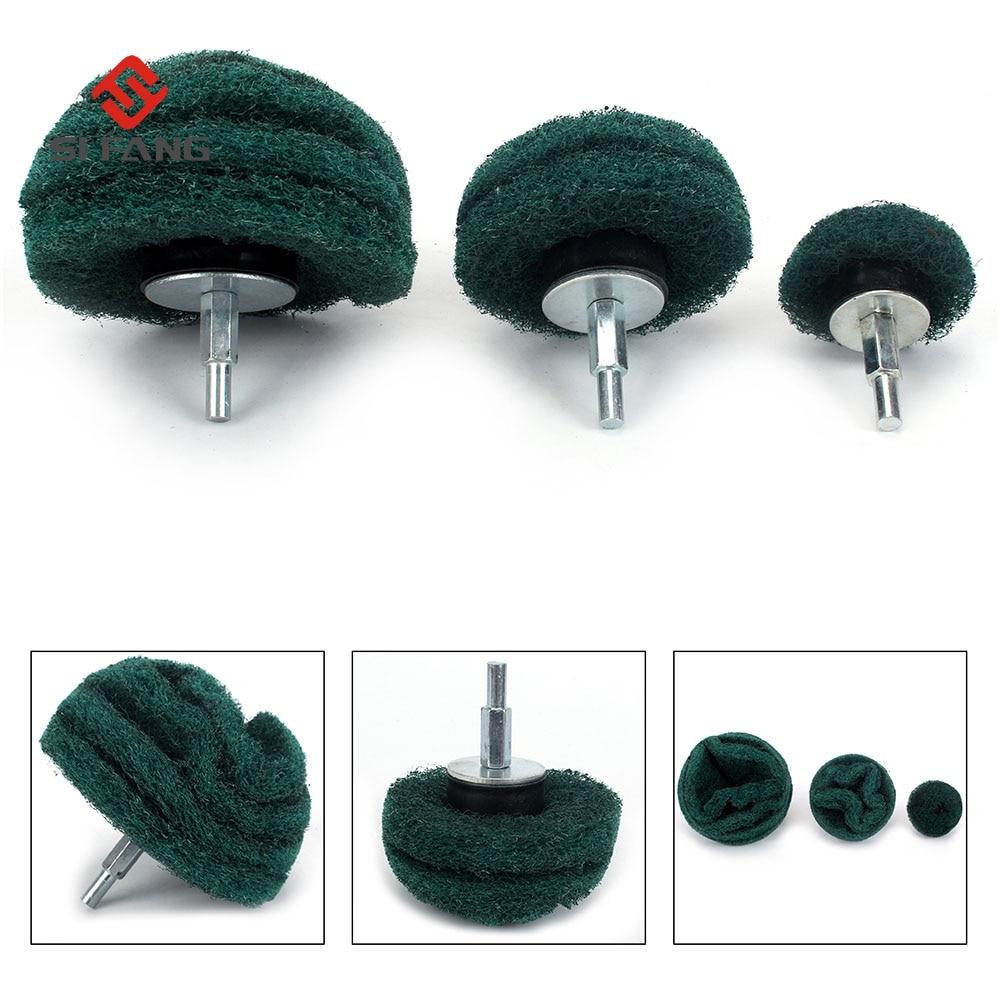 3pcs Grit180 Rotary Polishing Head  Mounted Sanding Mop Polishing Pad Set For Metal Polish Burring Umbrella Type Polishing  Head