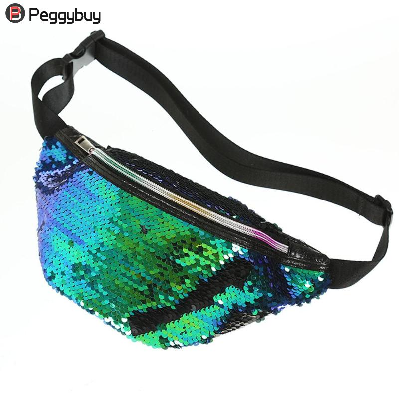 Sequins Holographic Fanny Pack Feminina Waist Pack Women's Laser Chest Waist Bag Women Belt Bag Bum Bag 2019 New