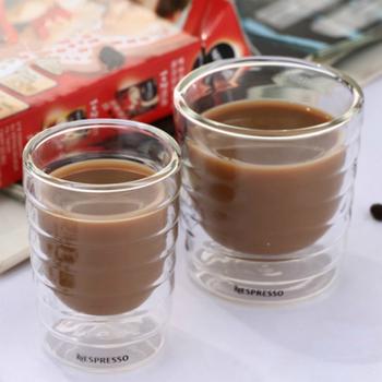 Espresso filiżanka kawy szkło termiczne herbata mleko napój okulary Caneca ręcznie dmuchane podwójna ścianka serwatka białko Canecas Nespresso filiżanka kawy tanie i dobre opinie LOULONG ROUND Ce ue Przezroczysty Ekologiczne Zaopatrzony double-00135 double wall glass