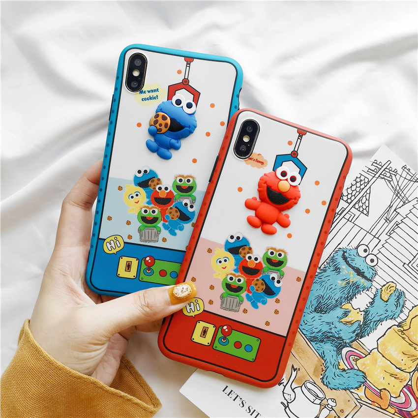 Cute Case for iPhone XR XS 11 Pro MAX X 8 Plus 7 cartoon Phone Cover for iPhone 7 6 6S Plus case TPU Shell sesame street 3D soft