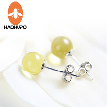 Hao Hu Po 8MM Round Shape 925 Sterling Silver Stud  Genuine Amber Earrings for Women Gold Amber Jewelry Women Girl Trendy Gift