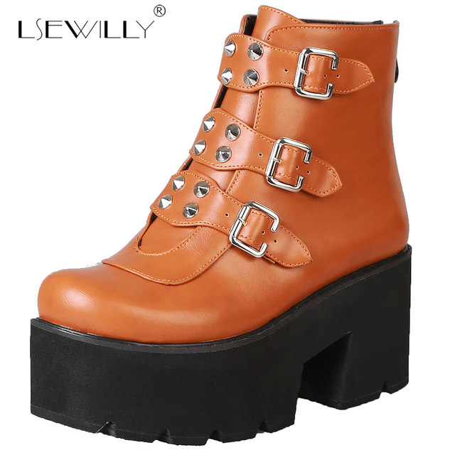 8dcf82c5e Lsewilly Autumn Winter Women Platform Boots 2019 Fashion Zipper Black Ankle  Boots Female Thick High Heel