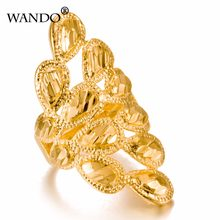 Wando Classic Can Free size Phoenix's Gold Color Rings for Women Ramadan Arab Ethiopian Jewelry Birthday Party Gifts ring(China)