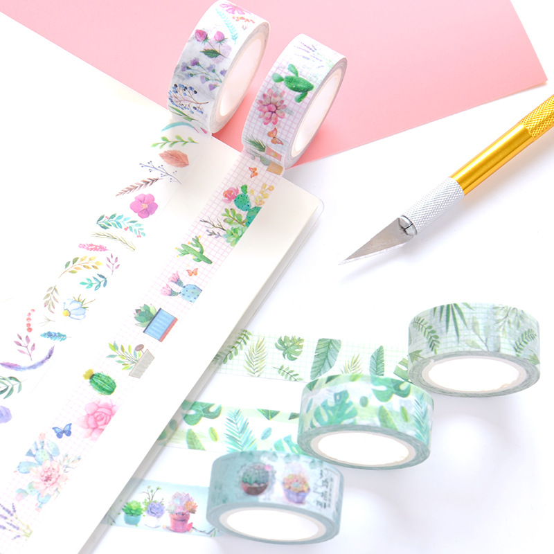 Green Plant Washi Tape 1.5cm Wide Adhesive Tape DIY Scrapbooking Fresh Plant Leaves Sticker Label Masking Tape School Gift Tape