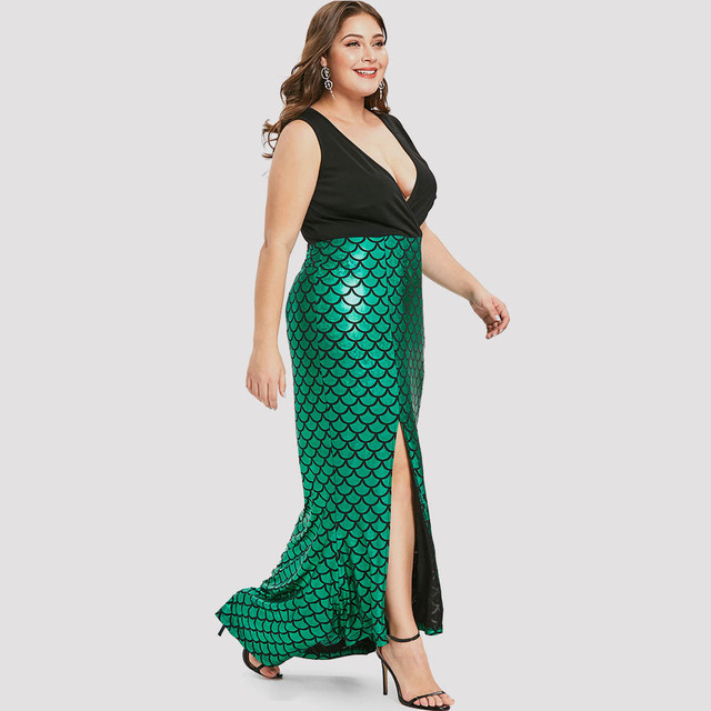 2cba8f8d884a 2019 Plus Size Women Dress Fish Scale Asymmetric Slit Surplice Dress Female  Vestidos Party Dress Sequined Mermaid Dress