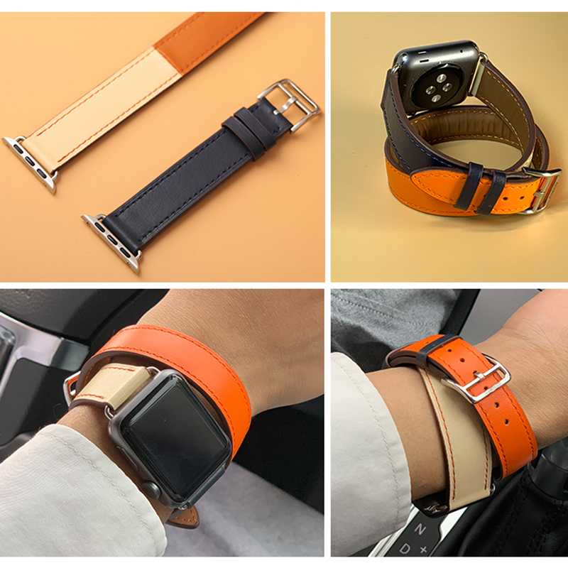 Kebbit men women double tour bands for apple watch series 4 3 genuine leather strap iwatch4 two loop wrist band herm 40mm 44MM for apple series 4 double tour watchbands genuine leather strap wrist watch band for apple watch 1 2 3 4 herm bracelet 40mm 44mm