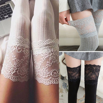 Women Girls Stockings Over The Knee Long Lace Knit Warm Soft Thigh High Stockings Fashion Design Cotton Striped Sexy Stocking