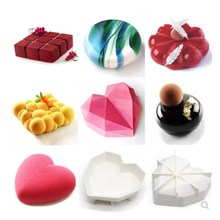 OUSSIRRO Cake Decorating Mold 3D Silicone Molds Baking Tools For Heart Round Cakes Chocolate Brownie Mousse Make Dessert Pan