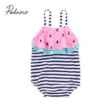 Новинка года; брендовый купальник с арбузом в полоску для маленьких девочек; купальники с оборками без рукавов; купальный костюм с оборками