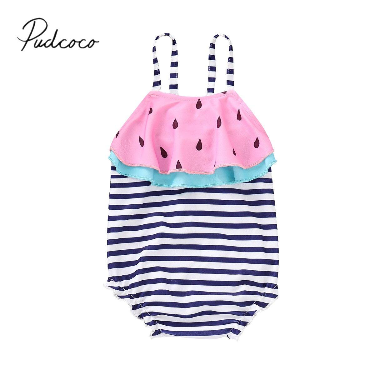 2019 Brand New 1-6Y Toddler Baby Kids Girls Stripe Watermelon Swimsuit Sleeveless Ruffles Swimwear Ruffle Bikini Bathing Suit Купальник