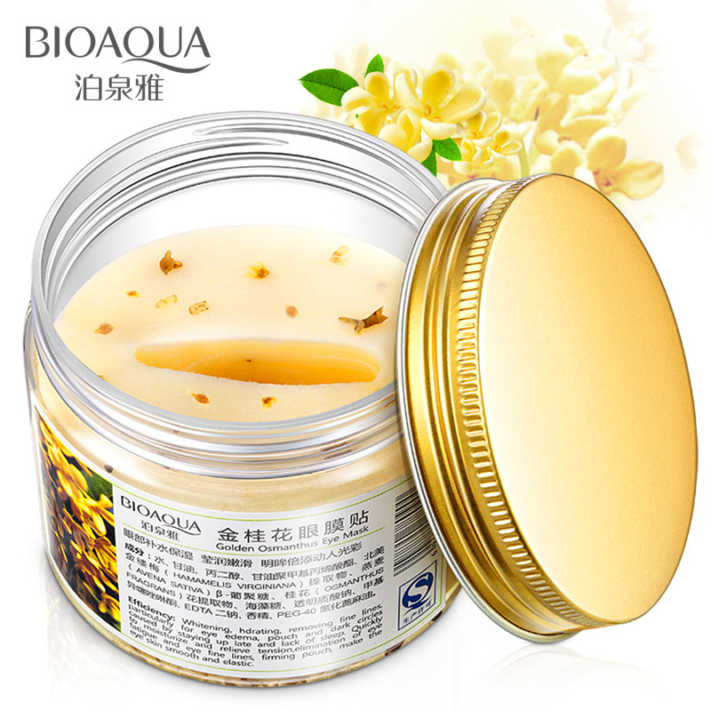 80 pcs/ bottle BIOAQUA Gold Osmanthus eye mask women Collagen gel whey protein face care sleep patches health mascaras de dormir