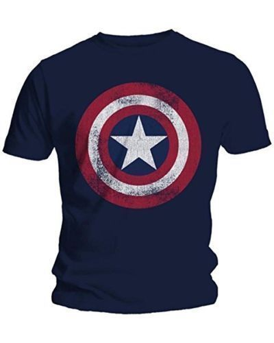 Adult Shirt Distressed-Shield Marvel Comics Logo Captain-America Cotton Fashion Men M-2XL