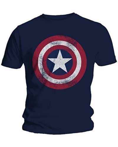 Degli Uomini di modo T-Shirt Captain America Distressed Shield Logo Comics Camicia Adulto M-2XL In Cotone T-Shirt