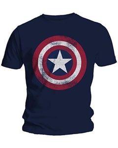 Fashion Men T-Shirts Captain America Distressed Shield Logo Comics Adult Shirt M-2XL Cotton T-Shirts(China)