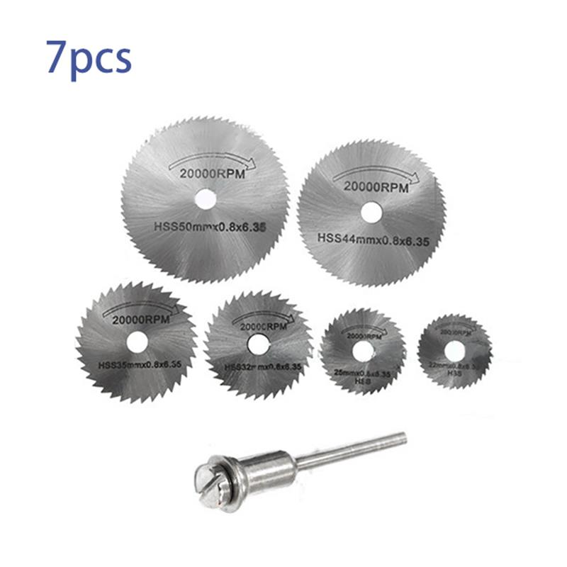 7pcs Portable Rotary Tool Circular Saw Blades Cutting Discs Mandrel For Dremel Cutoff