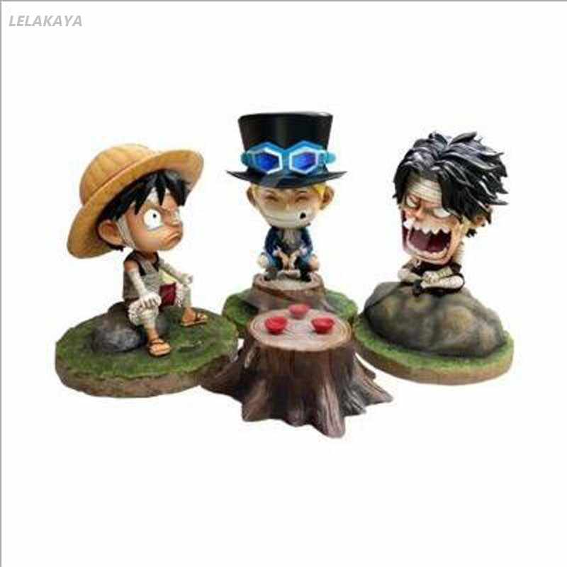12cm One Piece Anime Action Figure Mini Angry Bandage Monkey D Luffy Sabo Ace Sitting Ver Model Pvc Kids Lovely Decoration Doll